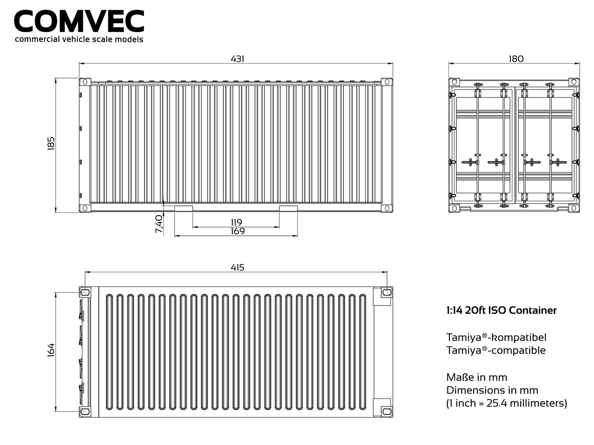 20ft Container HamburgSüd, Scale (for Tamiya), set of parts